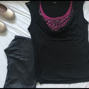 Black and magenta top with black sequin from Guess